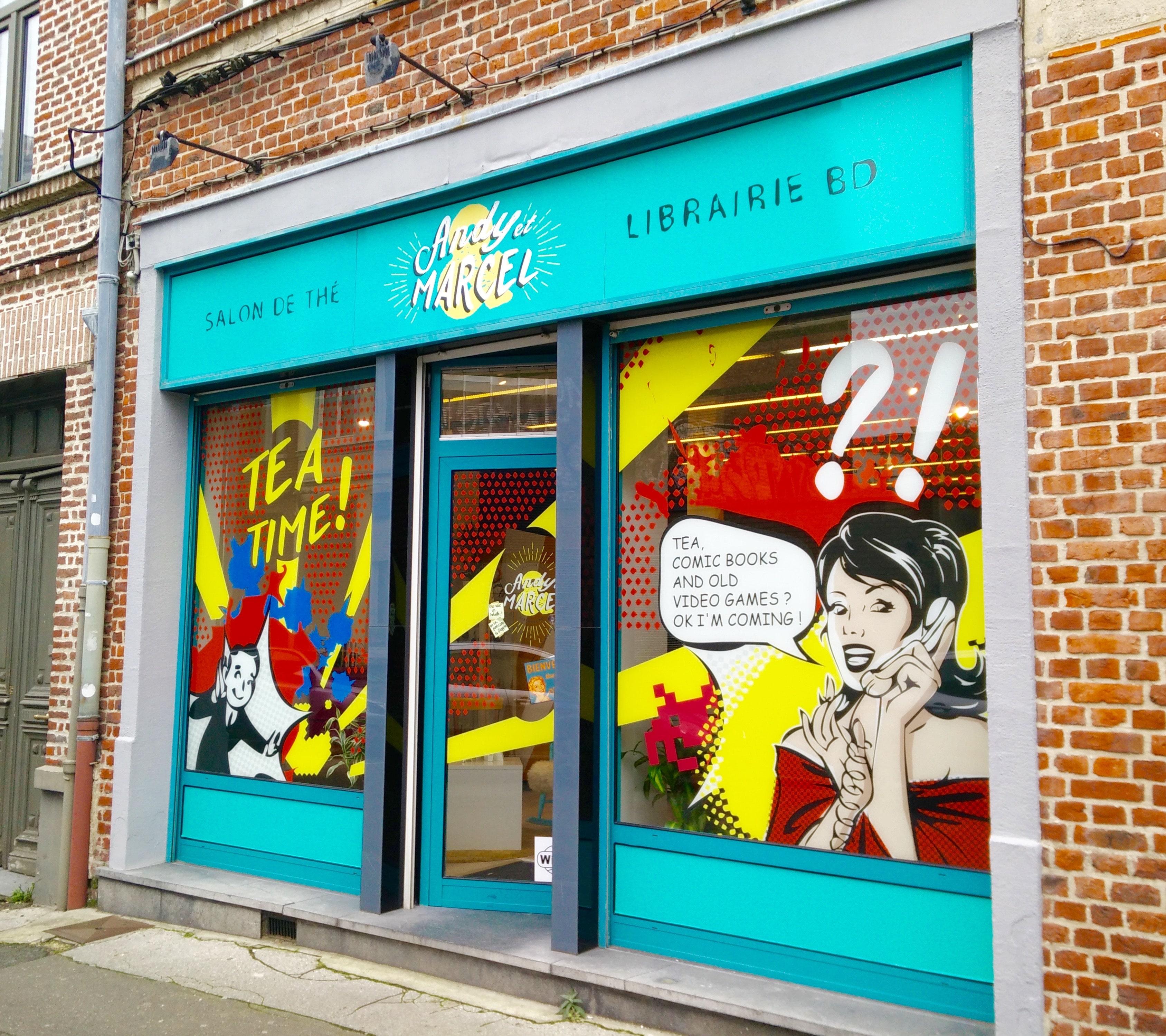Andy et marcel librairie bd salon de th lille chicon for Devanture salon de coiffure