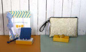 idee cadeaux temoins homme et femme mariage noeud papillon colonel moutarde pochette dorée bracelet personnalisable