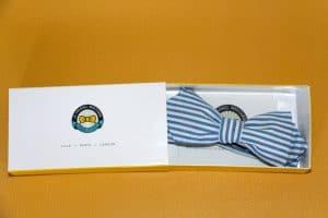 noeud papillon rayures bleu le colonel moutarde idée cadeau témoin mariage garçons